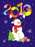 Christmas background with snowman holding figure 2. 010. Vector illustration Stock Images