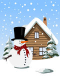 Christmas background with snowman. Illustration Stock Photos