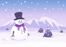 Christmas background with snowman. Illustration Royalty Free Stock Photos
