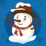 Christmas background with snowman Royalty Free Stock Image