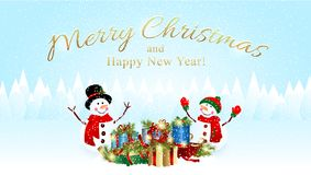 Christmas Background with Snowman and X`mas Presents Royalty Free Stock Image