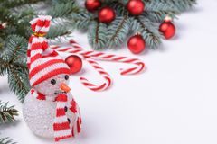 Christmas background with snowman and New Year decoration. With space for your greetings Stock Images