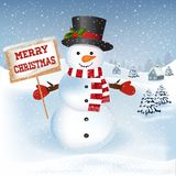 Christmas background with snowman. New year and Christmas greetings design. Winter holidays landscape. Background with snowman, houses and trees Royalty Free Stock Images