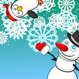 Christmas background with snowman and penguin. Blue Christmas card with snowman and small penguin Royalty Free Stock Photos