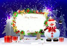 Christmas background with snowman, presents and sc Royalty Free Stock Photos