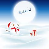 Christmas background with snowman and santa. Flying through the night sky Stock Photo