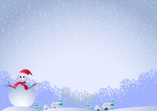 Christmas Background. With snowman and snowflakes Royalty Free Stock Images