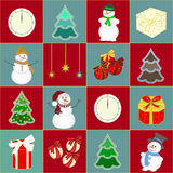 Christmas background with snowman, tree and gifts . New year Vector illustration. Royalty Free Stock Image