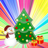 Christmas background with snowman, tree and gifts . New year Vector illustration. Royalty Free Stock Photo