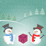 Christmas background with snowman, tree, gifts and snowflakes.  Stock Photo