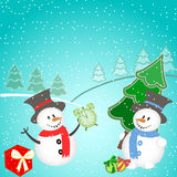 Christmas background with snowman, tree, gifts and snowflakes. Stock Photography
