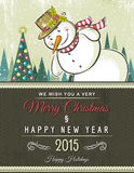 Christmas background with snowman,  vector. Illustration Royalty Free Stock Photo