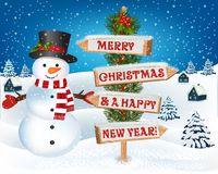Christmas background with snowman and wooden sign. New year and Christmas greetings design. Winter holidays landscape. Background with snowman, wooden sign royalty free illustration