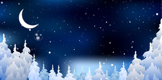 Christmas a background and Snowy forest.Vector Royalty Free Stock Photos