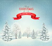 Christmas background with a snowy landscape Royalty Free Stock Images