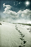 Christmas background with snowy path Royalty Free Stock Photo