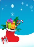 Christmas background with sock and gifts Royalty Free Stock Photography