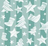 Christmas background, sock, star, tree, seamless, gray-green, vector. Stock Image