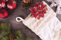 Christmas background. With some decorations, top view royalty free stock photography