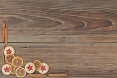 Christmas background. Some items for christmas on a wooden table Stock Photography