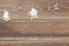 Christmas background. Some items for christmas on a wooden table Stock Image