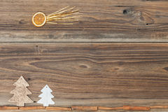 Christmas background. Some items for christmas on a wooden table Royalty Free Stock Photo