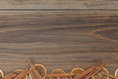 Christmas background. Some items for christmas on a wooden table Stock Images