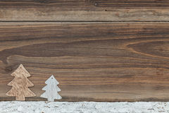Christmas background. Some items for christmas on a wooden table Royalty Free Stock Photography
