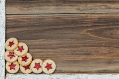 Christmas background. Some items for christmas on a wooden table Royalty Free Stock Photos