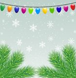 Christmas background with the sprigs of fir-tree and festive gar. Lands,vector illustration Stock Images