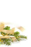 Christmas background with spruce and beads Royalty Free Stock Photos