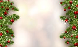 Christmas background with spruce branches and balls. New Year blurred background with spruce branches and Christmas balls. Vector illustration Stock Photography