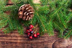 Christmas background with spruce branches on Stock Images