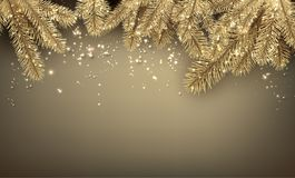 Christmas background with spruce branches. Golden shiny New Year background with spruce branches. Vector illustration Royalty Free Stock Image