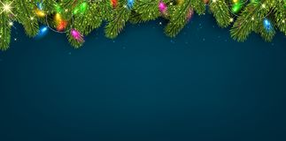 Christmas background with spruce branches and lights. Stock Image