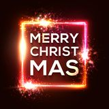 Christmas background. Square neon light Xmas frame royalty free illustration