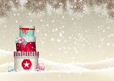 Christmas background with stack of colorful Stock Images