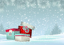 Christmas background with stack of colorful Stock Image