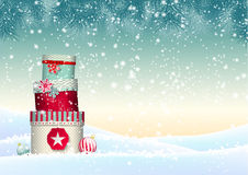 Christmas background with stack of colorful Royalty Free Stock Photos