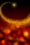 Christmas background with  star and abstract bokeh lights. Royalty Free Stock Photos