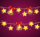 Christmas Background with Star and Bells. Vector Stock Photo
