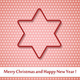 Christmas background star cutted from paper on red. Background. Vector illustration. Greeting card with Christmas star Royalty Free Stock Image