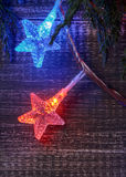 Christmas background with star lights Stock Image