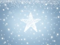 Christmas background with star from snow and snowflakes Royalty Free Stock Images
