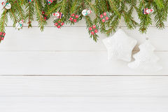 Christmas background with star and white Christmas tree. Copy space Royalty Free Stock Images