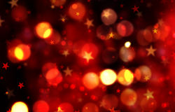 Christmas background with stars and bokeh lights Stock Photos