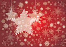 Christmas background with stars hanging. Red Christmas background with shining stars hanging. Snowflakes on the back Royalty Free Stock Photos