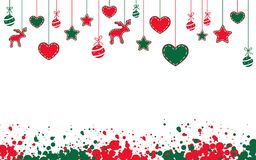 Christmas background. With stars, hearts, reindeers and balls Royalty Free Stock Image