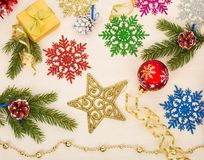 Christmas background with stars, snowflakes, fir tree branches Stock Photo