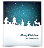 Christmas background with stars, snowman, Santa and deer. Royalty Free Stock Image